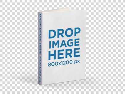 Textured Hard Cover Book Mockup Standing on a Transparent Surface a15460