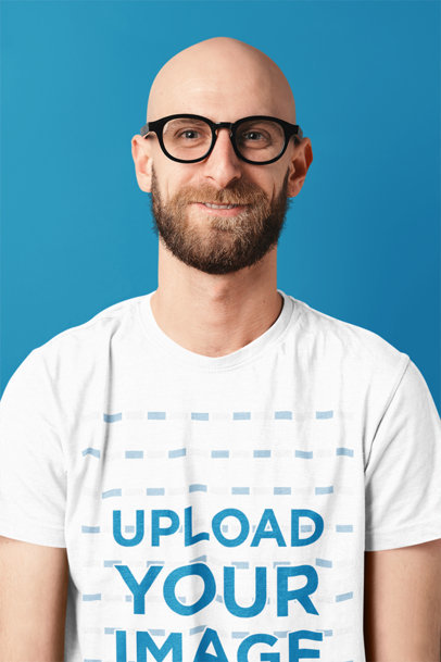 Mockup of a Bearded Man with Glasses Wearing a T-Shirt in a Studio m1516-r-el2