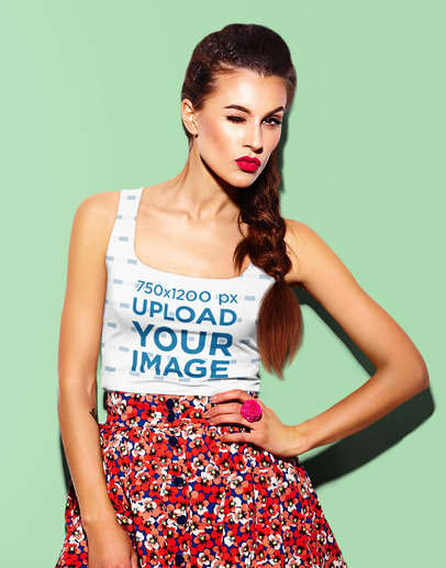 Sublimated Tank Top Mockup of a Woman Posing Against a Solid Color Background m1452-r-el2