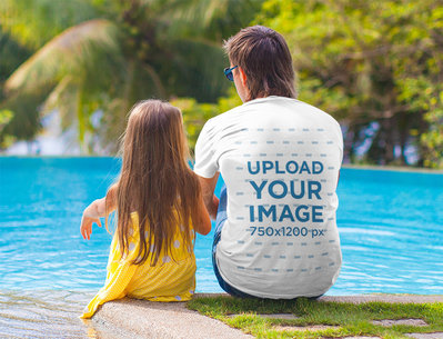 T-Shirt Mockup of a Man and His Daughter Sitting by a Pool M2187-r-el2