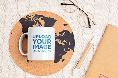 11 oz Coffee Mug Mockup Placed Near a Pair of Glasses m1962-r-el2