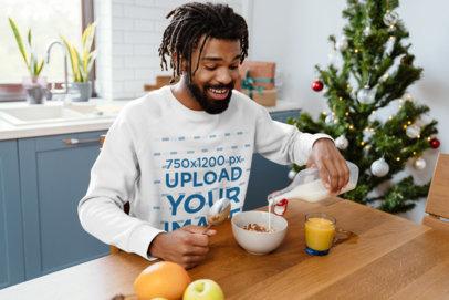 Sweatshirt Mockup Featuring a Happy Man Eating Breakfast M1859-r-el2