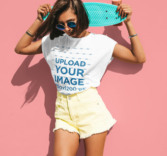 T-Shirt Mockup of a Woman With Sunglasses Posing Against a Colored Wall m1615-r-el2