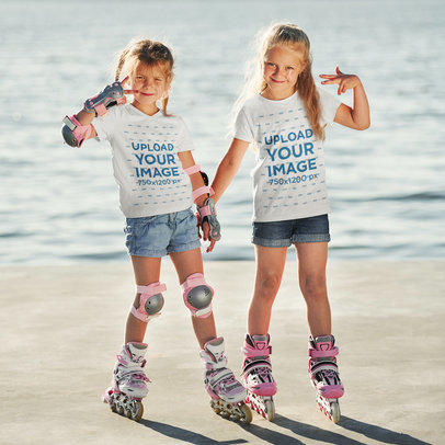 T-Shirt Mockup of Two Sisters Having Fun While Roller Skating m1743-r-el2