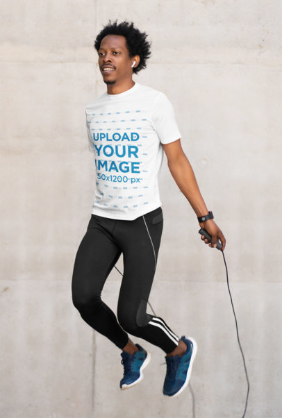 Activewear Mockup of a Man Wearing a T-Shirt While Jumping m2171-r-el2