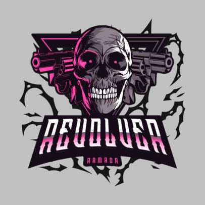 Skull-Themed Gaming Logo Maker with a Graphic of Revolvers 4095e