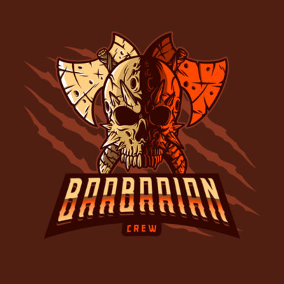 Gaming Logo Maker Featuring the Skull of a Barbarian 4095e