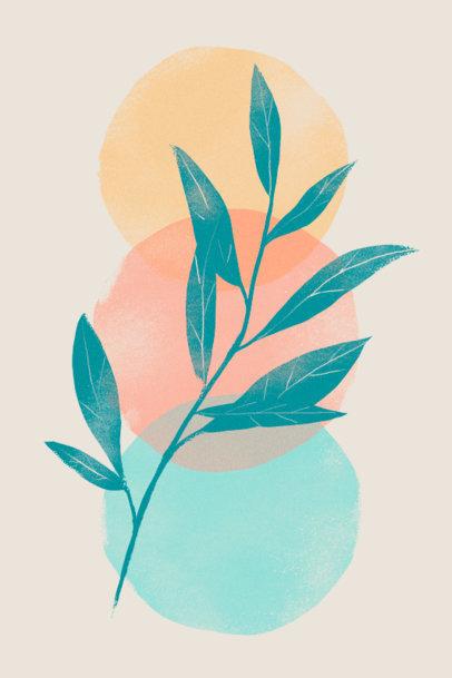 Colorful Art Print Design Maker Featuring a Plant Illustration 3425f