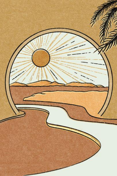 Art Print Design Template Featuring an Abstract Landscape 3425g