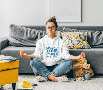 Pullover Hoodie Mockup of a Woman Meditating at Her Living Room M1998-r-el2