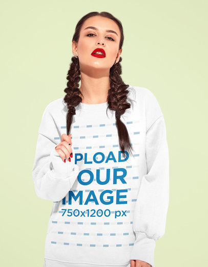 Sweatshirt Mockup Featuring a Woman with Braids Posing in a Studio M1529-r-el2