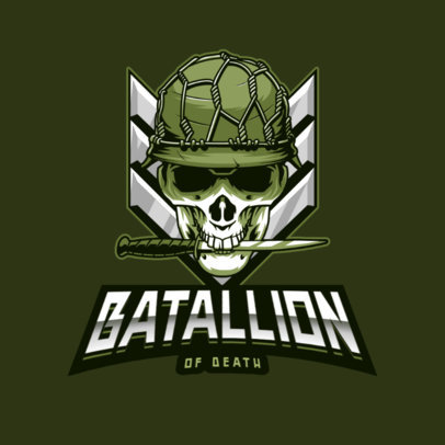Military-Themed Gaming Logo Template with a Skull Graphic 4095i