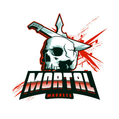 Logo Template with a Graphic of a Machete on a Skull 4095l