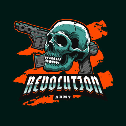 Gaming Logo Template Featuring a Skull and an Automatic Gun 4095i