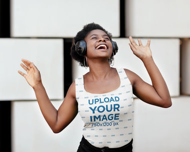 Sublimated Tank Top Mockup Featuring a Short-Haired Woman Listening to Happy Music m1798-r-el2