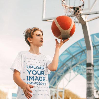 T-Shirt Mockup of a Kid Playing Basketball m1487-r-el2