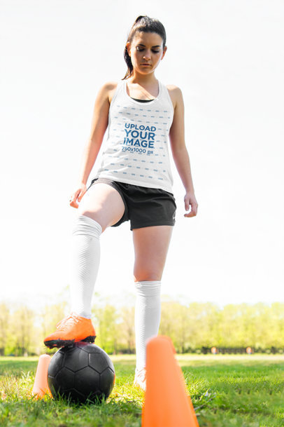 Tank Top Mockup of a Young Woman in Soccer Training m2173-r-el2