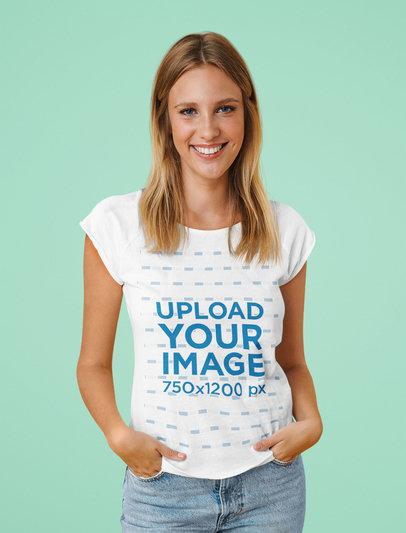 Portrait Mockup of a Happy Young Woman Posing in a Studio M1322-r-el2