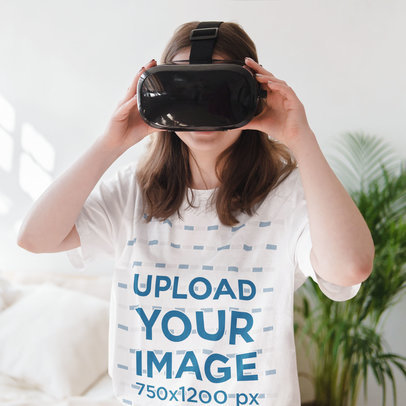T-Shirt Mockup Featuring a Young Long-Haired Woman Wearing a VR Headset m1491-r-el2
