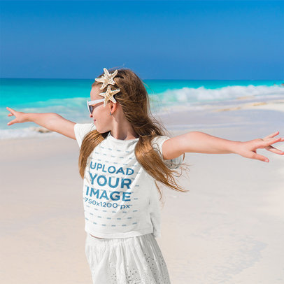 T-Shirt Mockup Featuring a Happy Girl at the Beach M2273-r-el2