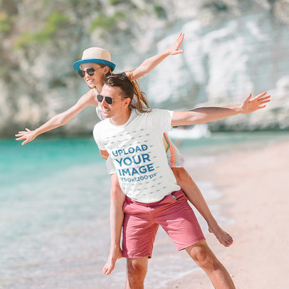 T-Shirt Mockup of a Father Having Fun With His Daughter at the Beach m2289-r-el2
