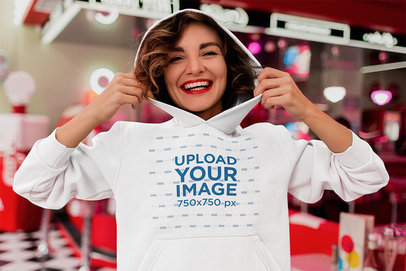 Hoodie Mockup of a Smiling Woman at a Restaurant m2543-r-el2