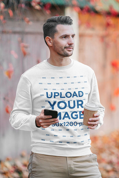 Sweatshirt Mockup of a Man Holding a Phone and a Coffee m2281-r-el2
