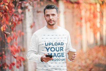 Sweatshirt Mockup of a Bearded Man in an Autumn Scenario m2282-r-el2