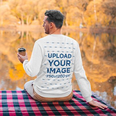 Back View Sweatshirt Mockup of a Man Sitting by a Lake m2284-r-el2