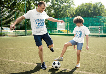 T-Shirt Mockup of Dad and Son Playing Soccer Together m2494-r-el2