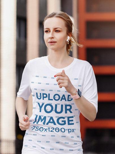 T-Shirt Mockup Featuring a Blonde Woman Jogging m1566-r-el2
