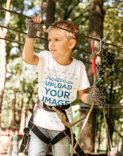 T-Shirt Mockup of a Little Boy Doing a Fun Outdoor Activity m1846r-el2