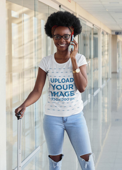 Round-Neck Tee Mockup of a Woman with Glasses Talking on the Phone m2255-r-el2