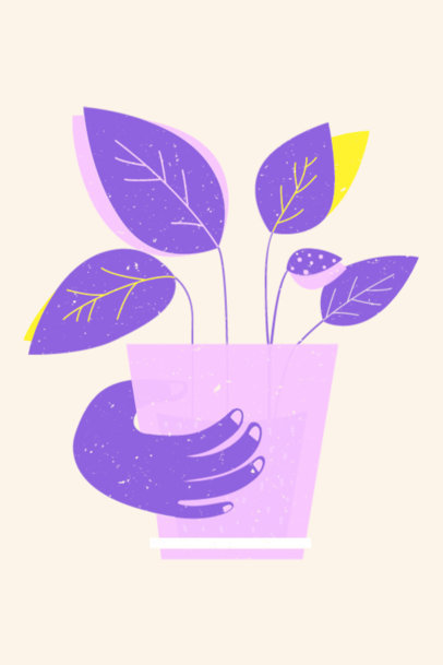 Art Print Design Template with an Illustration of a Plant Pot 3459e
