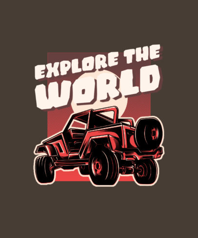 T-Shirt Design Template with a Four-Wheel-Drive Truck Illustration 3624g-el1