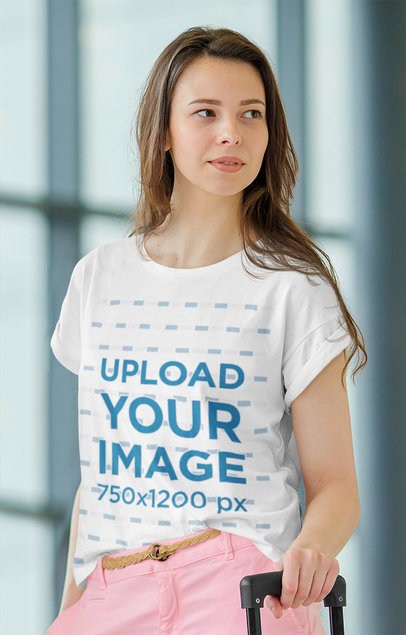 T-Shirt Mockup Featuring a Young Woman Traveling M2280-r-el2