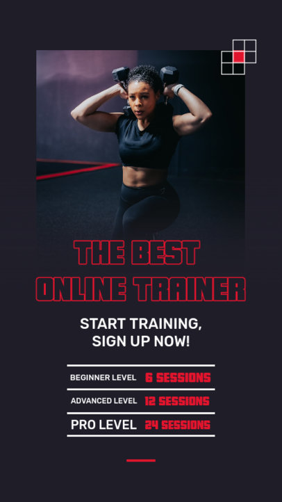 Instagram Story Design Template for an Online Fitness Coaching Service 3608e-el1