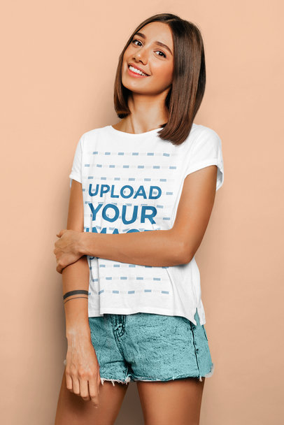 T-Shirt Mockup of a Young Woman with a Sweet Smile m1361-r-el2