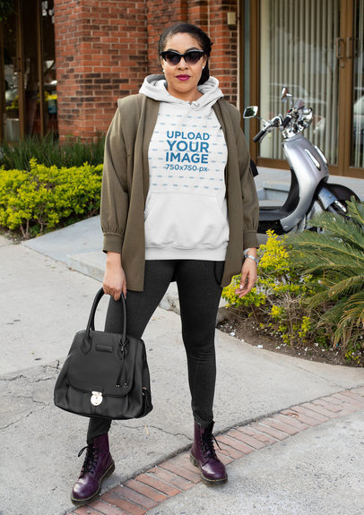 Hoodie Mockup of a Trendy Middle-Aged Woman Wearing an Athleisure Look 32437a