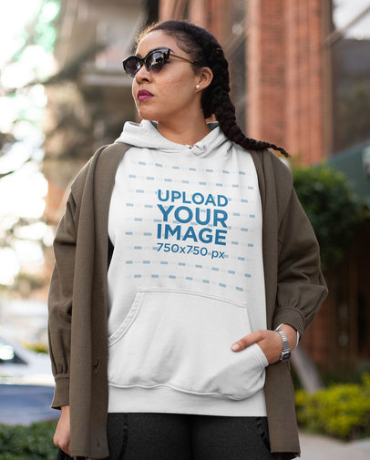 Pullover Hoodie Mockup of a Serious Woman With Sunglasses and an Athleisure Look 32438a