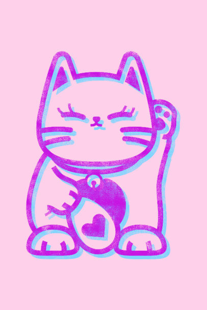 Risograph-Styled Art Print Generator Featuring a Cute Cat Clipart 3458g
