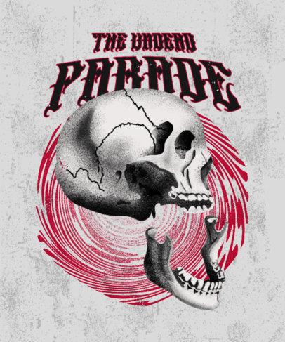 Horror-Inspired T-Shirt Design Maker with a Broken Skull Illustration 3453e