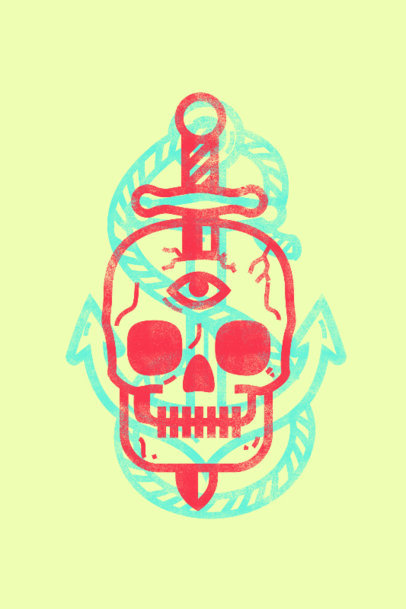 Art Print Design Template Featuring a Skull Illustration 3458e