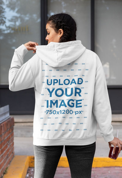 Back-View Mockup of a Woman Wearing a Hoodie 32441a