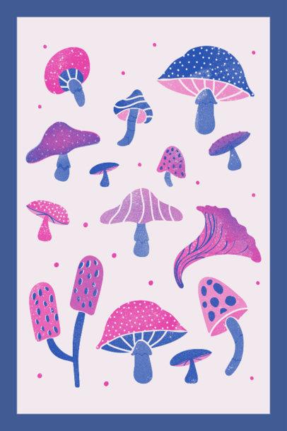 Art Print Generator Featuring Mushroom Illustrations 3460b