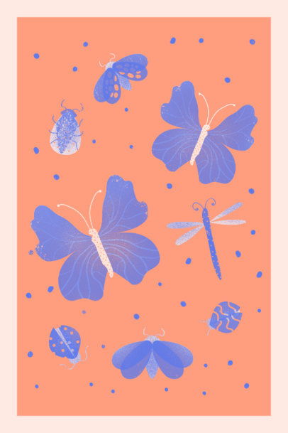 Illustrated Art Print Design Generator Featuring Bugs and Butterflies 3460e
