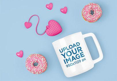 11 oz Coffee Mug Mockup Featuring a Pair of Donuts m1963-r-el2