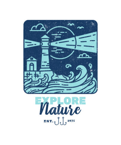 Adventure-Inspired T-Shirt Design Generator with an Illustration of a Lighthouse 3622f-el1