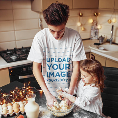 T-Shirt Mockup of a Teen Baking with His Little Sister at Home m2147-r-el2