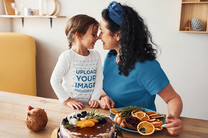 Long Sleeve Tee Mockup of a Happy Girl and Her Mother Sitting at the Table m2251-r-el2